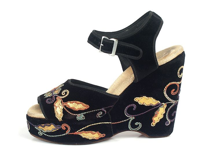 Embroidered Black Velvet Platform Sandals, Great Britain, 1940's