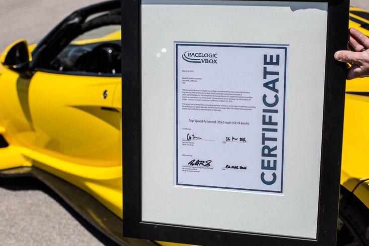 Speed World Record 2016 Hennessey Venom Gt Spyder
