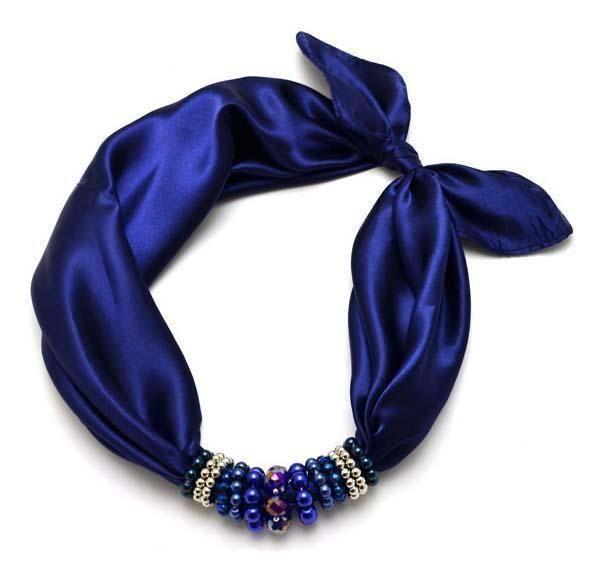 Šátek s bižuterií Letuška 299let-30 - modrý - Bijoux Me! - bižuterie, šály a šátky