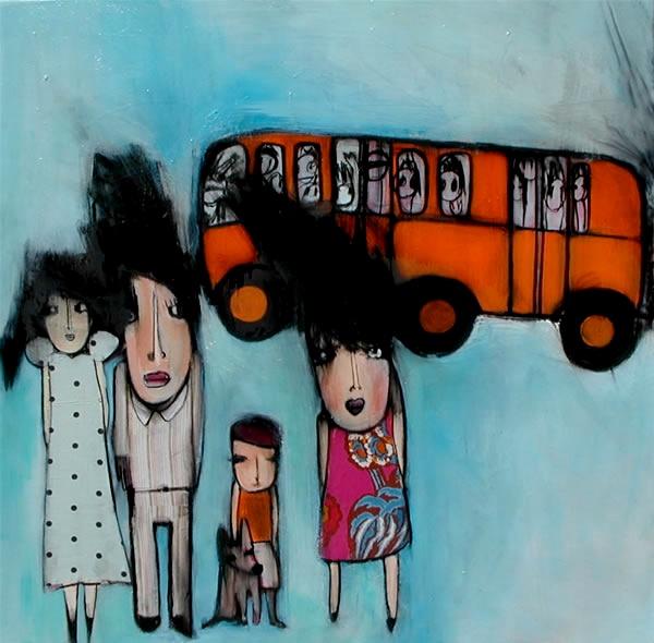 """""""aspettando il tram"""" acrilico,tessuto, olio su tela misura 80x80"""