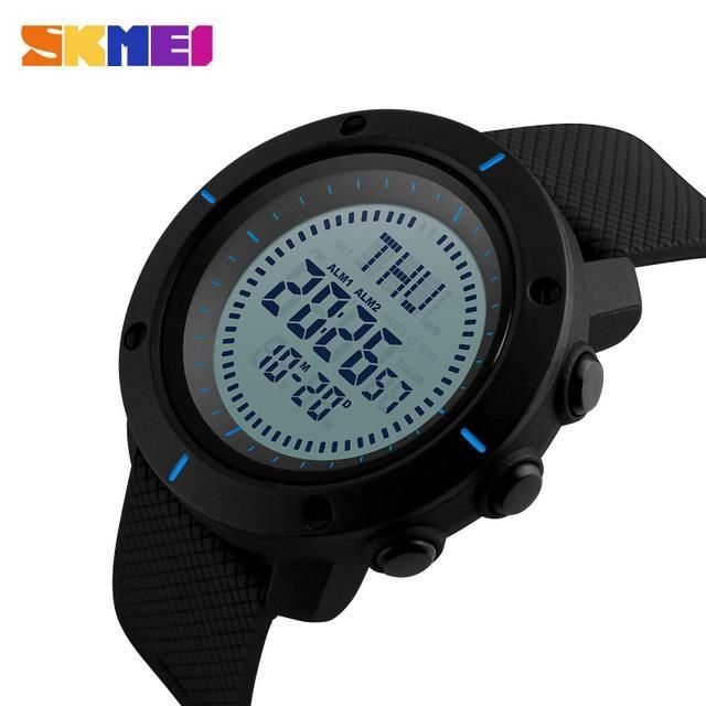 SKMEI Digital Watch Compass Men Sport Watches Electronic Countdown Stopwatch Summer Time Military LED Wristwatch Alarm 1216