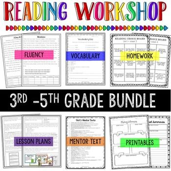 3rd-5th Grade Reading Workshop-get fluency passages, vocabulary, homework, lesson plans, mentor texts, and printables! $