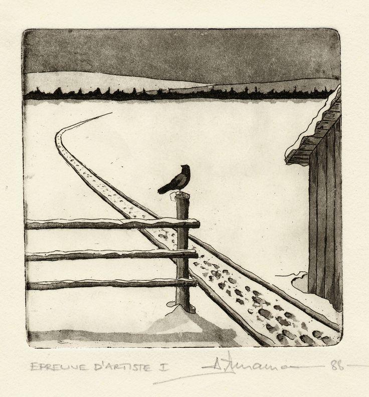 le corneille, aquatinta 1988 by #ainnamaa
