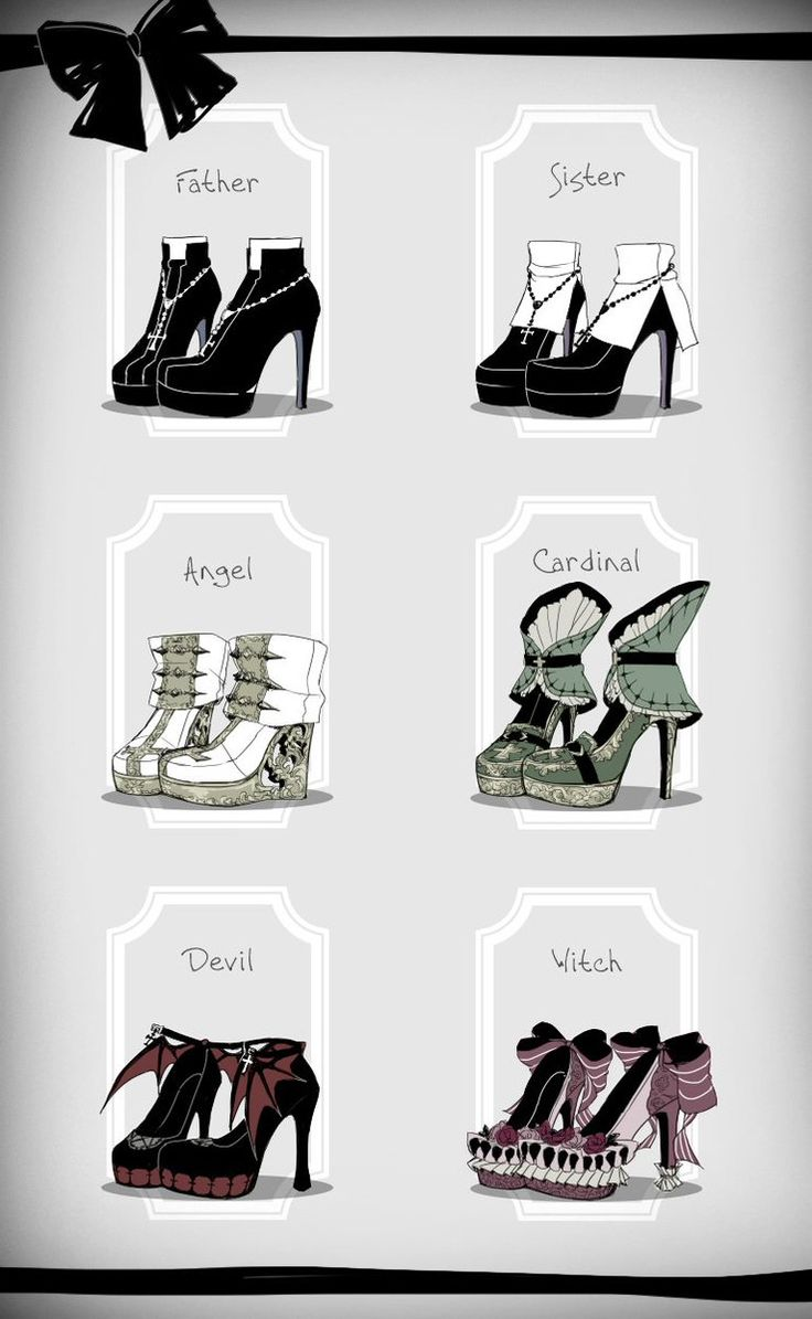 Religious themed lolita shoes illustration