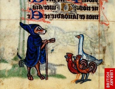 Image from The Maastricht Hours Origin Netherlands, S. (Liège) Date1st quarter of the 14th century Fox preaching to a duck and some chickens. British Library Catalogue of Illuminated Manuscripts