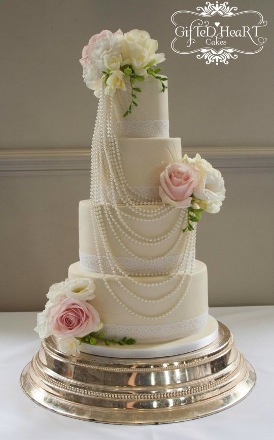 Pearls and Roses Wedding Cake - CakesDecor