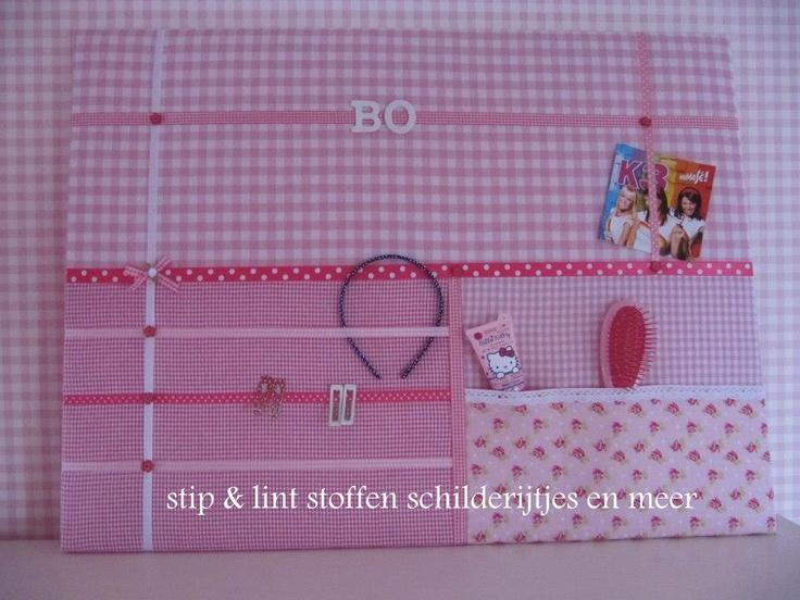 Memobord roze. Niet alleen leuk in stof maar ook in vilt http://www.bijviltenzo.nl