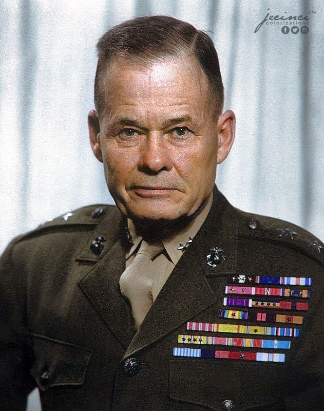 """The most decorated Marine in American history."" Lewis Burwell ""Chesty"" Puller  June 26, 1898 – October 11, 1971 United States Marine Corps lieutenant general who fought in Haiti and Nicaragua, in World War II and the Korean War. He is one of two U.S. servicemen awarded five Navy Crosses and one Army Distinguished Service Cross."