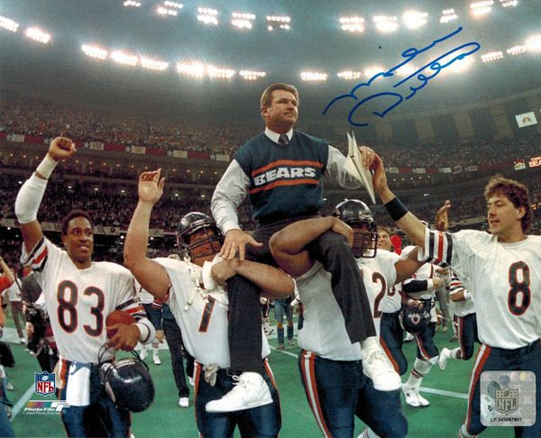 Mike Ditka Signed Bears Super Bowl Carried Off Field 8x10 Photo - Schwartz COA