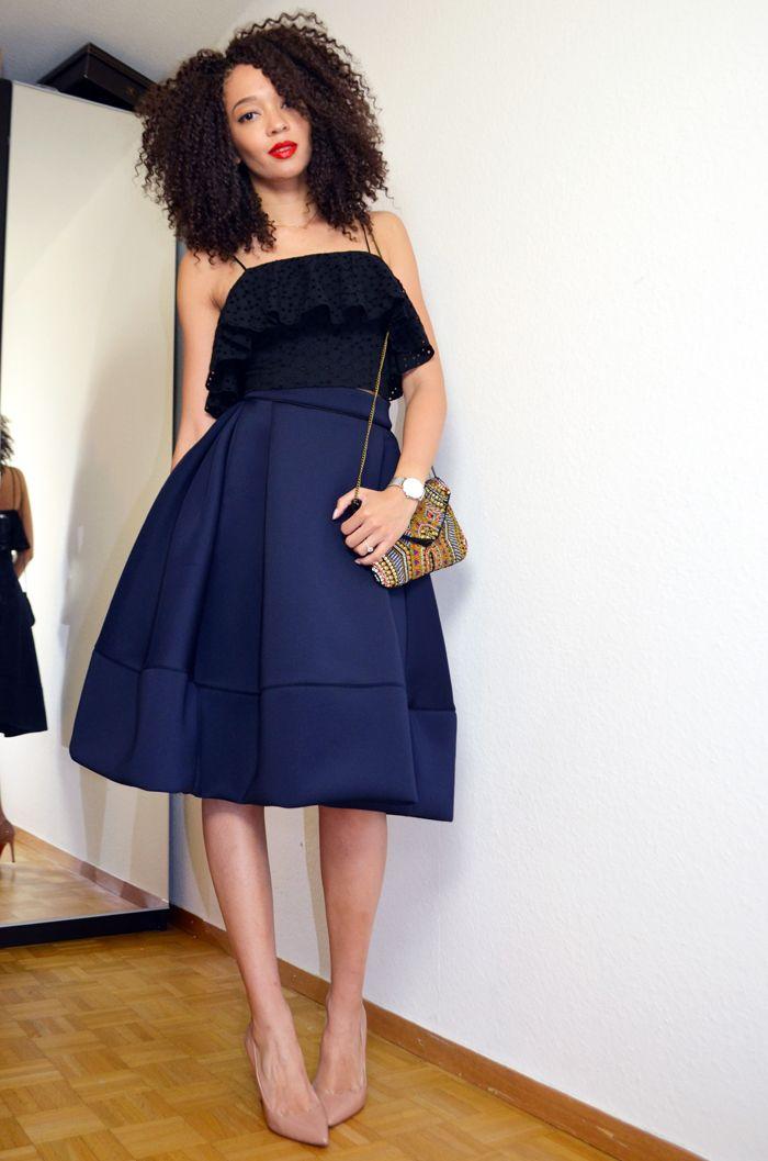 mercredie-jupe-josephine-neoprene-blue-skirt-midi-maje-h&m-crop-cropped-top-louboutin-pigalle-10cm-10-nude-afro-crochet-braids