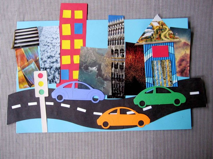 """On The Road"" Collage Craft for Kids-- Using magazine cut-outs, scrap paper, and cardboard. Make the road and the city skyline as long as you like!"