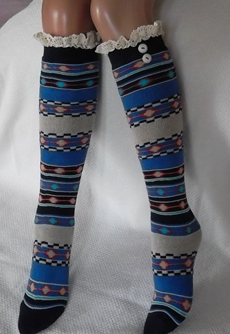Aztec Socks  Boot socks boot cuffsleg warmers by CarnavalBoutique, $20.00