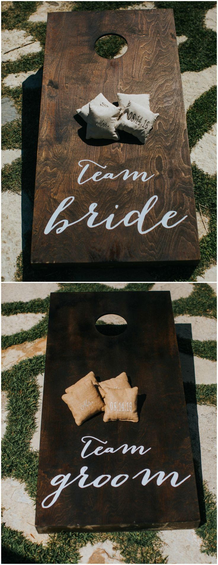 Wedding-inspired corn hole boards, team bride, team groom, wooden, burlap beanbags // Jes Workman