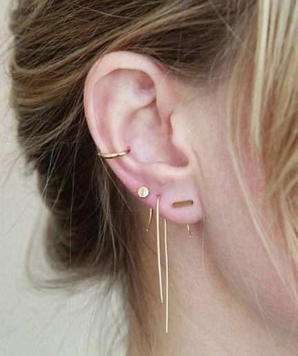 NEED Gabriela Artigas - 14K Gold Hook Earring, Infinite Bar Earring, Infinite Dot Earring, and 14K Ear Cuff.  Minimalist woman jewelry | Minimalist gold accessories | Simple jewelry | Modern jewelry | Capsule wardrobe | Subtle gold jewelry | Simple earrings
