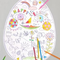 Giant Easter egg coloring for hours of fun and a colorful Easter wall decoration. 6 page printable template.