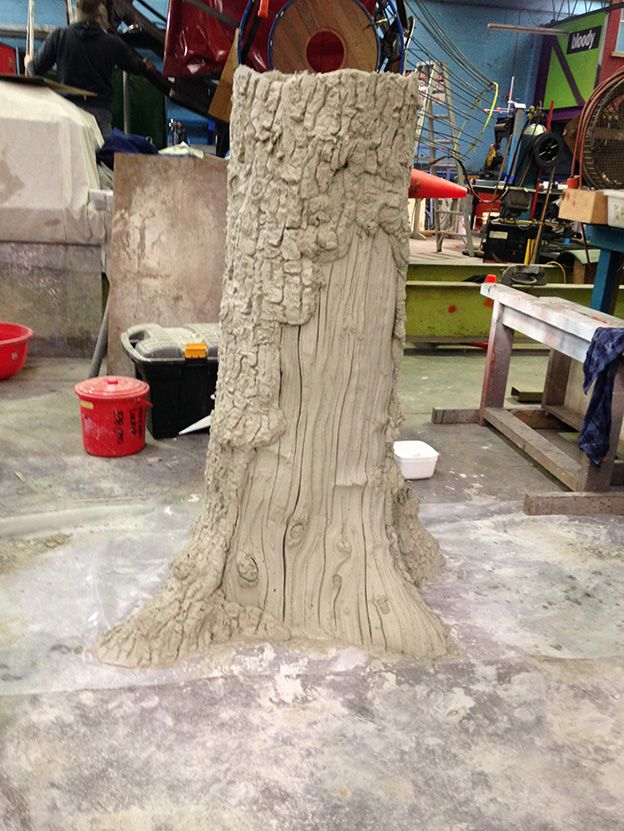 Prototype for our Chestnut tree sculpture in raw concrete form. Compare this to the finished sample with bark, lichen and paint finish