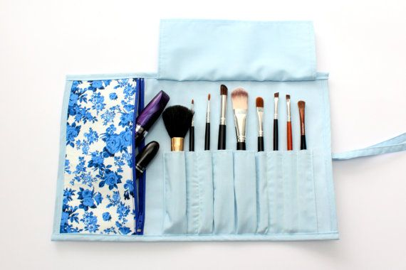 Beautiful Blue Brush Roll With Zippered Pocket.