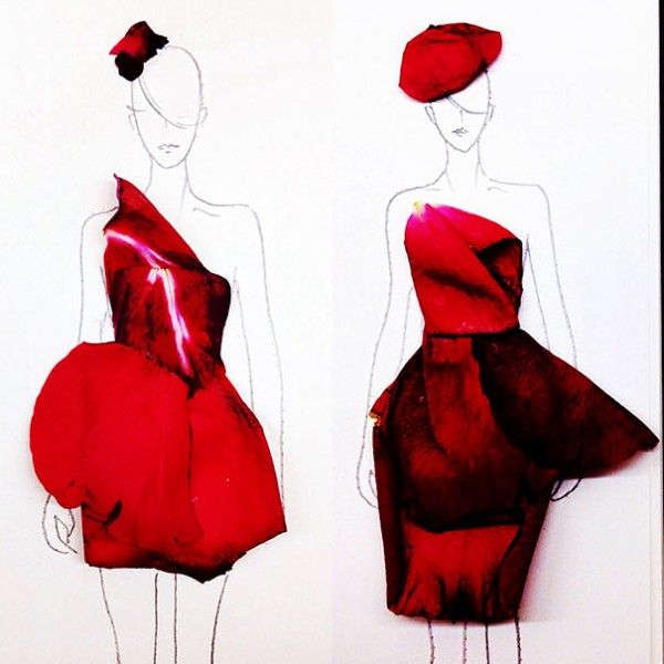 Grace Ciao turns real flower petals into fashion design illustrations