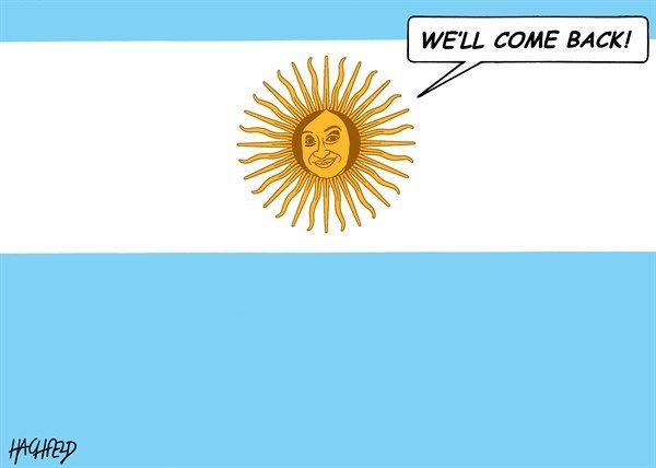 Rainer Hachfeld - Neues Deutschland, Germany - Cristina Fernandez returns - English - Cristina Fernandez de Kirchner as Argentinian flag