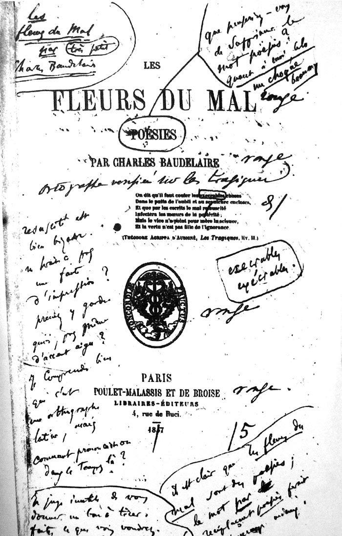 Page de titre de l'édition de 1857 des Fleurs du Mal, épreuve corrigée par Baudelaire.