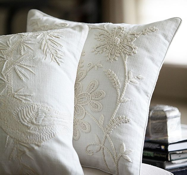 embroidered pillows from sarita handa