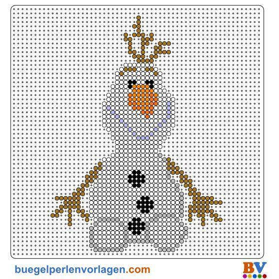 Frozen Die Eiskönigin Olaf Bügelperlen Vorlage - perler bead pattern: