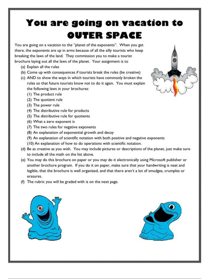 This is a final project to help students review all of the exponent rules