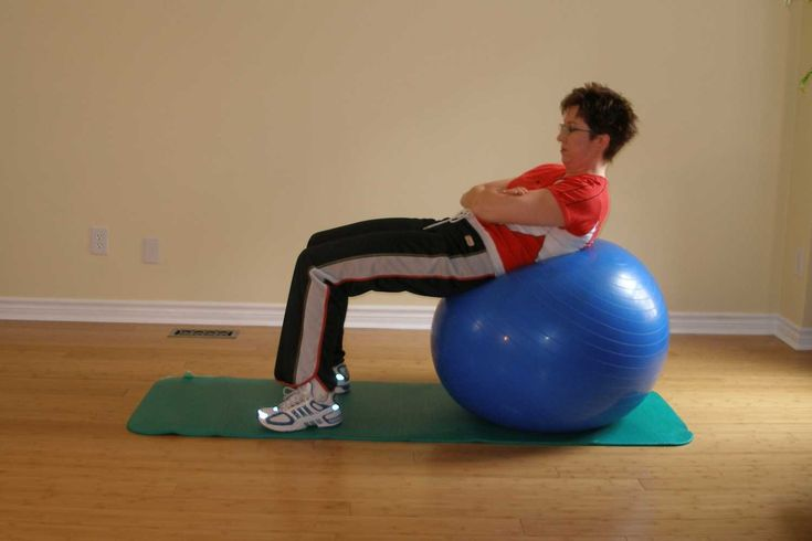 Ball crunch  Starting Position  Get yourself out to the supine position (Exercise Ball Exercises - Assuming the Supine Position)  Cross your arms over your chest.  Keep your feet hip width apart or closer.  Head neck and hips should form a straight line from your head to your knees.  Action  Slowly and in a controlled manner, use your abdominal muscles to pull your upper body off the ball.  Visualize the distance between your rib cage and your pelvis as getting shorter.  Pause for a…