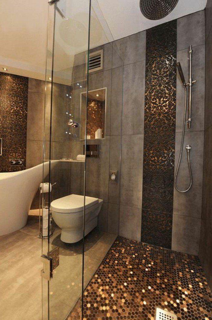 salle de bain en beige et gris, intérieur chic et moderne en dalles gris, sol en mosaique marron brillant