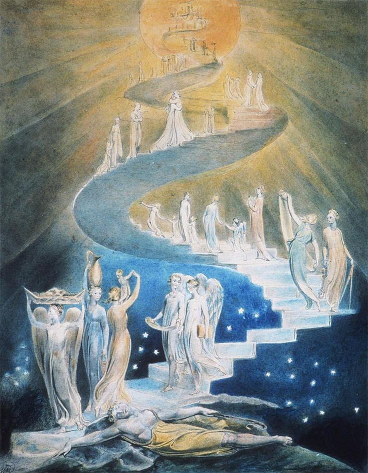 We are all artists. Our most precious divine gift is creativity. Therefore… dance your life, sing your song, write your story. Create with words, color, clay, yarn, food... Make love. Continue reading at http://soulfulsparks.hamoves.net/clarity-shines-2/. (Image: Jacob's Ladder by William Blake)