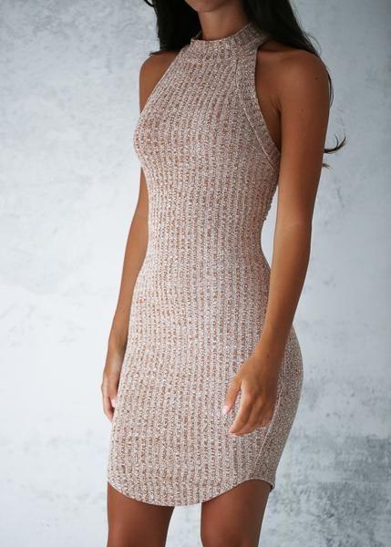 ALEXA BODYCON DRESS - BEIGE 15