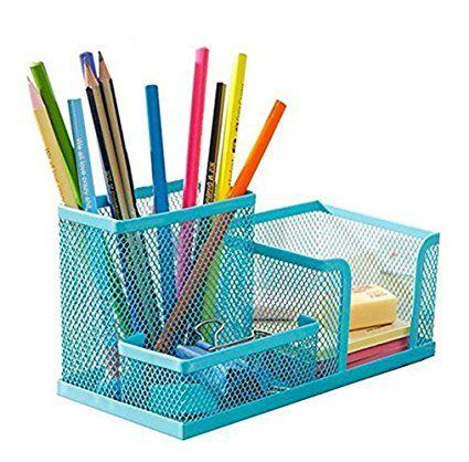 d7aebdfcb3f Cosanter 3 Storage Multifunction Desktop Supplies Organizer Blue Mesh Pencil  Pot Holder for Office