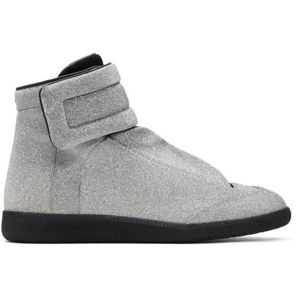Maison Margiela Silver Future High-Top Sneakers ($980) ❤ liked on Polyvore featuring men's fashion, men's shoes, men's sneakers, silver, mens high top shoes, mens velcro strap sneakers, mens glitter shoes, mens round toe shoes and mens velcro strap shoes