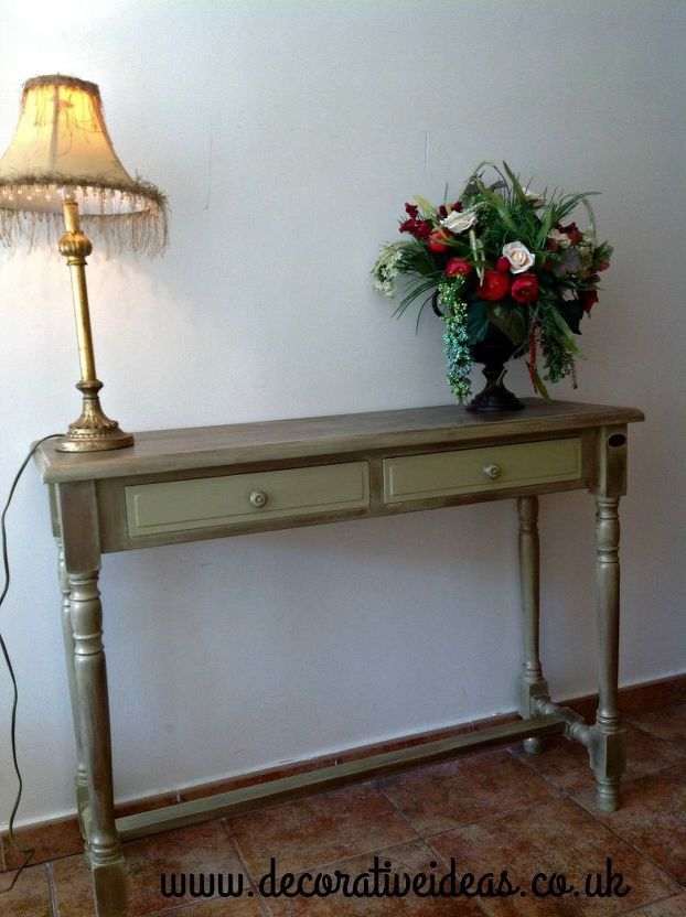 Hall Table Painted In Rustoleum Chalk Paint Sage Green Painted