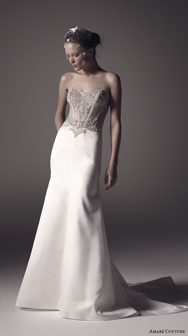 amare couture ss 2016 strapless semi sweetheart neckline sheer embellished bodice elegant modfied a line wedding dress illusion back court train (lilah) mv