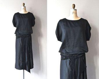 Митрополит Aire платье | 1920-х годов шелковое платье • Урожай черный 20s платье