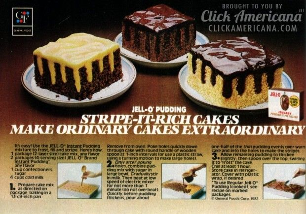 Jell-o Pudding Stripe-It-Rich cakes (1982)