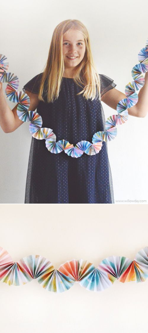 Paper Fan Garland with kid's art | willowday