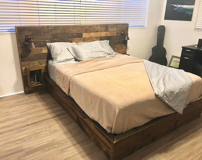 Rustic Bed Set Headboard Footboard Bed Frame Etsy Rustic
