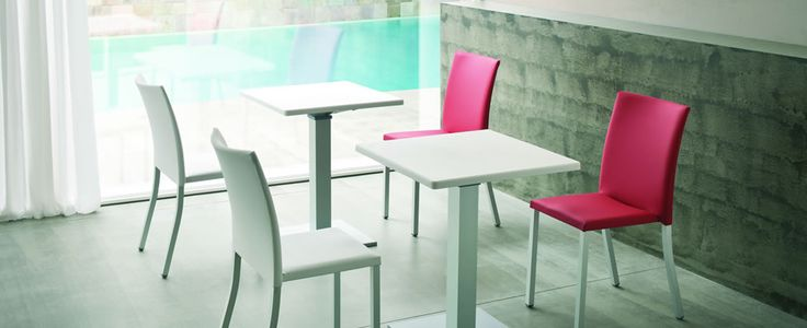 Modena canteen table and chairs. The chairs seat and back come in techno polymer covering or with PU and anodized aluminium legs and available in a wide range of colours. Looks great in coffee shops, resturants and breakout or canteen area's.