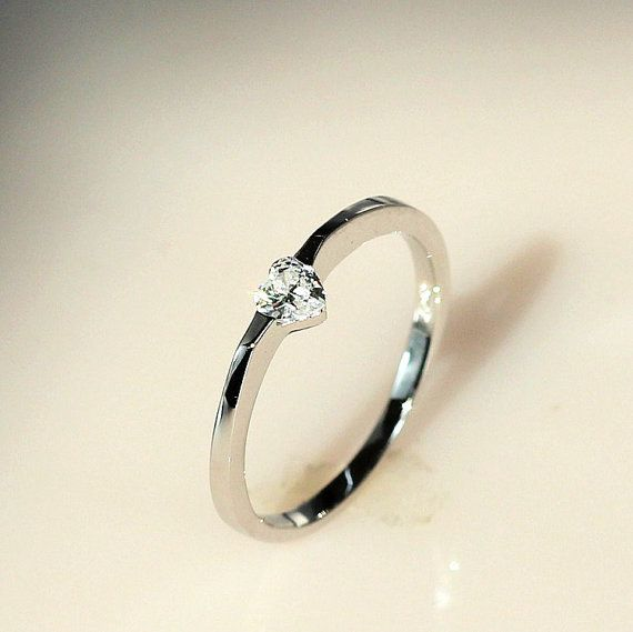 Heart Diamond Engagement Ring Simple Rings for Women ULOVE JEWELRY on Etsy $