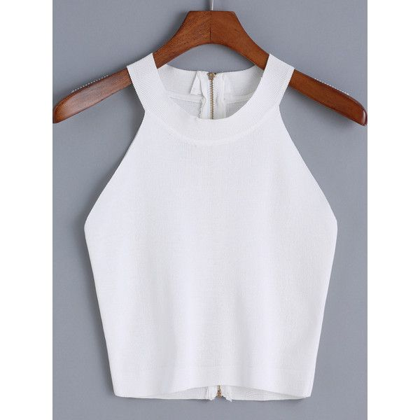 Halter Zipper Knit Cami Top (84 HKD) ❤ liked on Polyvore featuring tops, white, white knit top, halter top, white vest, camisole tops and cami top