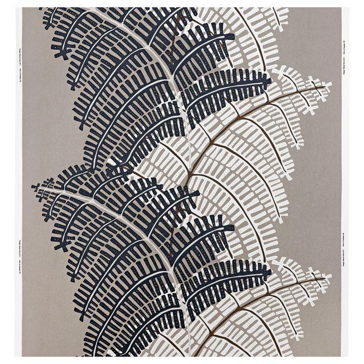 STOCKHOLM Fabric - fern/grey/beige - IKEA for soft furnishing on black sofa while carrying botanics through