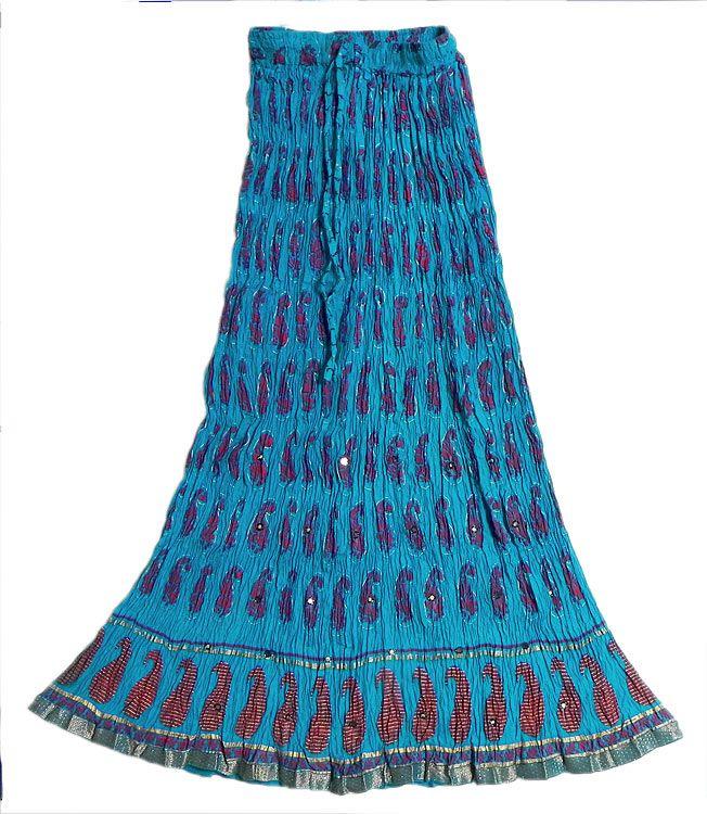 Cupro Skirt - Shades of Blue by VIDA VIDA Clearance Huge Surprise XjyY0rmQcd