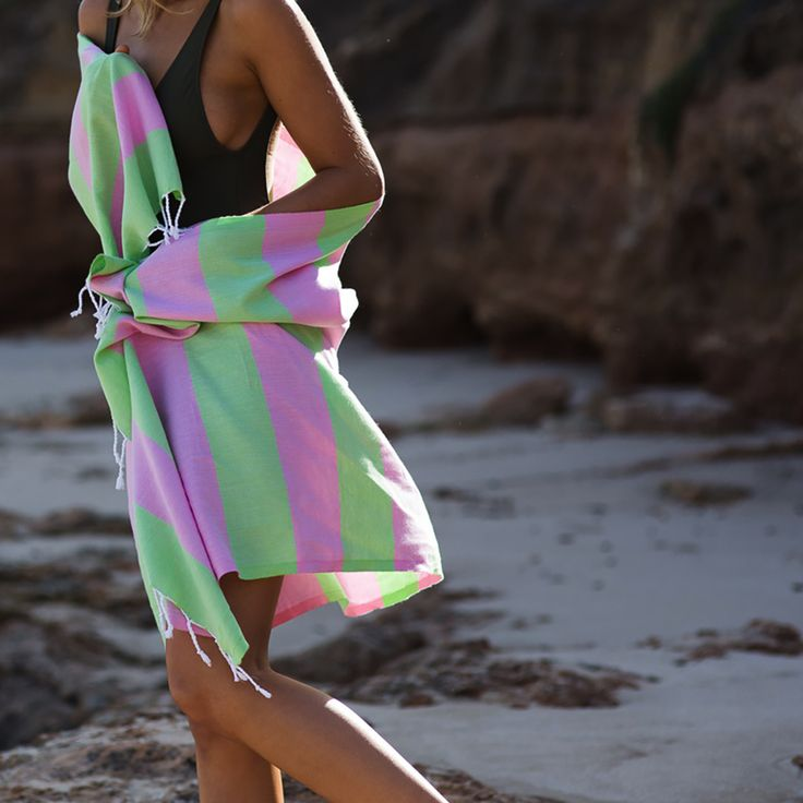 We've combined the most gorgeous shades pink and green to create the 'Gypsy' Superbright towel… available online now at www.knotty.com.au 💕
