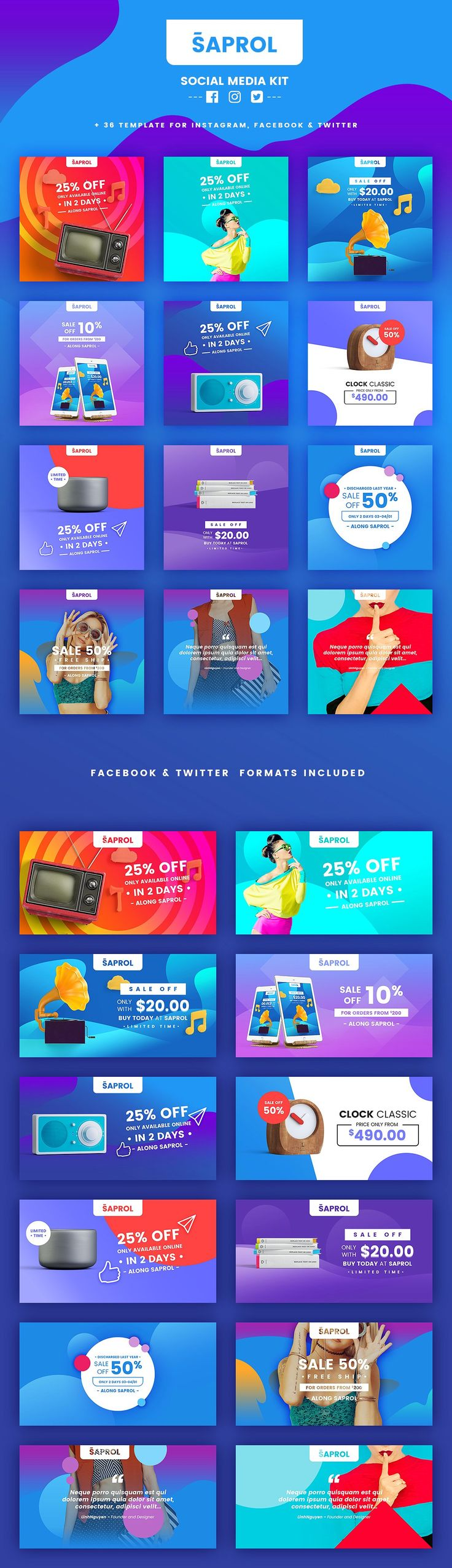 Saprol Social Media Kit by BazicLab on @creativemarket