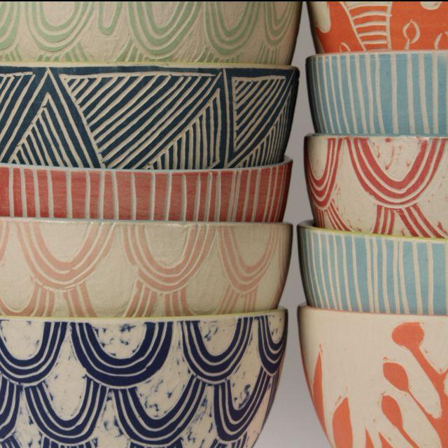 Dimitykidston.com Breakfast bowls . . . good sgraffito designs . . .