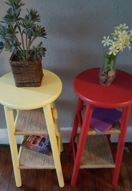 How to turn an old bar stool into an ADORABLE end-table