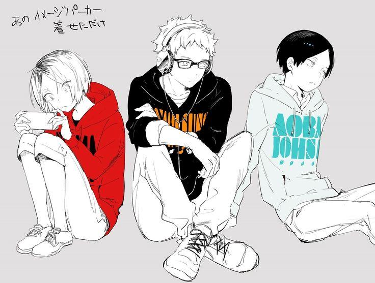 """""""The-No-Motivation-Squad"""" - Haikyuu!!  Nekoma, Karasuno, Aoba Johsai , Kenma, Tsukishima, Kunimi"""