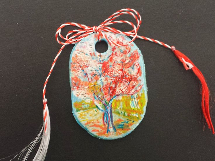 "Pendant -""Peach Tree in Blossom"" by Vincent van Gogh- Miniature"